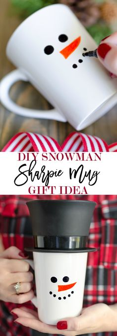 Diy Crafts Ideas : Sharpie Snowman Mug Gift Idea – Home Stories A to Z Diy Snowman Gifts, Snowman Mugs, Snowman Crafts, Xmas Crafts, Diy Christmas Mugs, Christmas Ideas, Christmas Projects, Christmas Recipes, Holiday Ideas