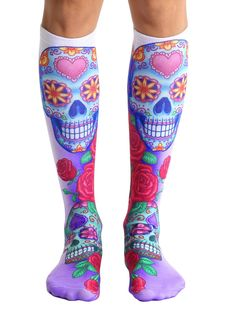 Step out and show off your style with our Sugar Skulls novelty unisex knee high socks! Available at Purple Leopard Boutique. Dr Martens Outfit, Novelty Socks, Knee High Socks, Leggings, Boot Socks, Ladies Dress Design, Fit Women, Smart Women, Hosiery