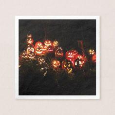 #Halloween Jack O Lantern Gathering Cocktail Napkin - #halloween #party #decor #ideas #celebrate #diy