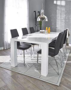 TWIST-ruokapöytä ja 6 ASTON-tuolia.  Musta tai valkoinen keinonahkaverhoilu, kromatut metallijalat.