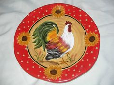 10 inch Home Decor Rooster Collector Wall Plate Red Yellow Green Sunflowers | eBay