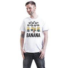 """Classica T-Shirt uomo """"Ba Ba Banana"""" dei #Minions con scollo tondo e ampia stampa frontale."""
