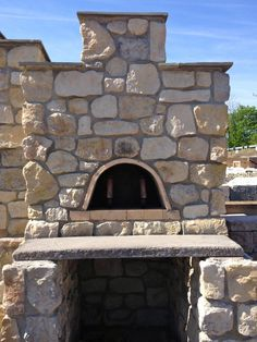 Outdoor Fireplace & Pizza Oven in Handcrafted Stone : French Country Limestone - Nitterhouse Masonry  #summer #backyard