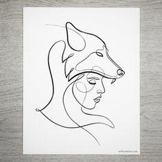 minimal wolf print tattoo ideas one line wolf art wolf etsy - wolf line drawing Wolf Print Tattoo, Print Tattoos, Wolf Tattoos, Art Abstrait Ligne, Wolf Headdress, Art Sketches, Art Drawings, Tier Wolf, Art Minimaliste