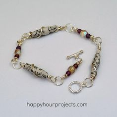 DIY Wire Wrapped Paper Bead Bracelet