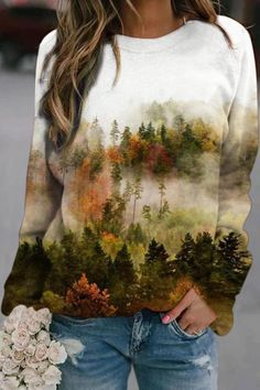 Forest In Misty Gradient Nature Landscape Jacquard Literary Sweatshirt Sport Pullover, Pullover Hoodie, Hoodie Sweatshirts, Printed Sweatshirts, Violet Rouge, Bleu Violet, Pull Grosse Maille, Mode Chic, Basic Tops