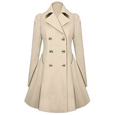 Hee Grand Women OL Slim Double-Breasted Trench Coat Pleated Outwear Overcoat Chinese S Apricot