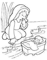 coloring page of baby moses basket on the picture and then print
