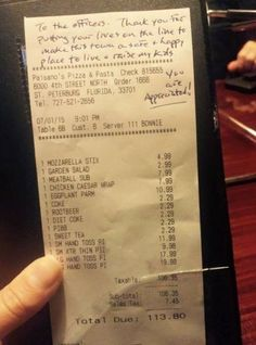 An anonymous person paid the bill for a group of officers after spotting them eating out at a restaurant