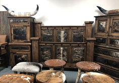Western Cowhide Custom Made 6 Piece Bedroom Set Rustic Bedroom Furniture Sets, Rustic Kitchen Island, Ranch Style, Solid Pine, Wood Construction, Rustic Design, Texas, Home Decor, Decoration Home