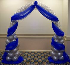 Party People Celebration Company - Special Event Decor Custom Balloon decor and Fabric Designs: Royal Blue and Silver Wedding royal blue hoco dress / royal blue party dress / blue gown royal / white and royal blue wedding / blue dress royal Royal Blue Wedding Decorations, Sweet 16 Decorations, Party Decoration, Balloon Decorations, Wedding Colors, Royal Blue Centerpieces, Royal Blue And Gold, Blue And Silver, Blue Silver Weddings