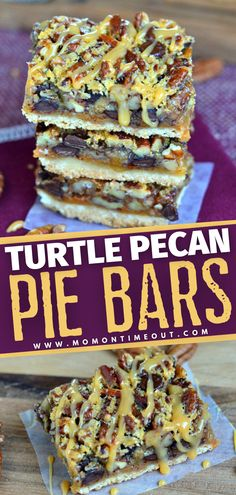 Prepare to go crazy for these layers of pecans, caramel, and chocolate! Not only are these Turtle Pecan Pie Bars easy to serve, but you are also going to get a full 24 servings out of this recipe. A perfect Thanksgiving dessert for a crowd! Save this and try it!