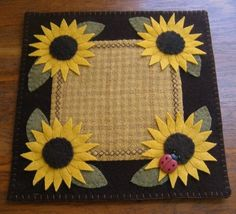 Primitive Wool Penny Rug Sunflowers Lady Bug Jar by MaggysPennies, $18.99