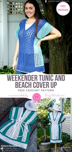 Weekender Tunic and Beach Cover Up Free Crochet Pattern Beach Crochet, Free Crochet, Crochet Bikini, Knit Crochet, Crochet Hats, Crochet Patterns, Crochet Ideas, Crochet Projects, Crochet Woman