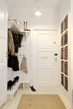 Beautiful, organized entry hallway with hooks, shelves and shoe storage. For the laundry room Entry Hallway, Entry Closet, Closet Office, Entrance Hall, Closet Doors, Hallway Shelf, Basement Entrance, Garage Entry, Bathroom Closet