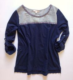 Skies are Blue Lusy Embroidered Detail Knit Top | I like navy and the neckline.