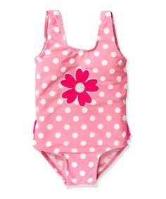 Love this Pink Polka Dot Daisy One-Piece - Toddler & Girls by Jump'N Splash on #zulily! #zulilyfinds