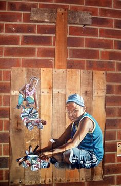 """""""Inqol' Engena 'masondo Acrylic on recycled wood. Recycled Wood, My Childhood, Recycling, Objects, Africa, Artsy, Creative, Salvaged Wood, Repurpose"""