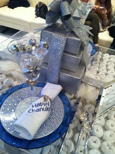 Love this table for Hanukkah--there's donuts inside the lucite!