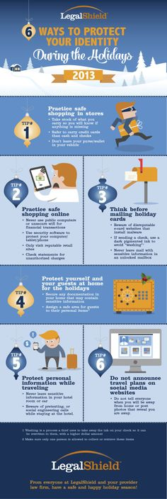 The holidays can be a scary time to keep your identity safe! This helpful infographic was created by dezinegirl for IMI's client Legal Shield to help Online Email, Identity Protection, Safe Shop, Credit Check, Protecting Your Home, Marketing Tools, Good To Know, Holiday Cards, How To Plan