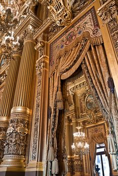 Détail du grand foyer de l'Opéra Garnier.  Paris, France