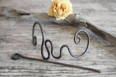 Copper hair pin in antiqued brown patina, hammered metal hair accessory, OOAK, handmade jewelry, ethnic, boho, tribal style, rustic chic