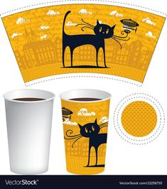 Template of paper cup for hot drink vector image on VectorStock Paper Cup Design, Book Design, Coffee Cup Design, Cafe Logo, Graphic Design Branding, Packaging Design Inspiration, Coffee Cups, Cat Download, Old Things