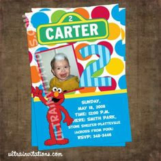 Modern Colorful Birthday Invitation with a photo of your little on and elmo holding his/her letter initials. Elmo All Boy Birthday Photo Invitation, Printable or Prints Digital Party Celebration Bday Girl, Boy Birthday, Birthday Ideas, Elmo Birthday Invitations, Invites, Elmo Party, Colorful Birthday, Birthday Photos, Birthdays