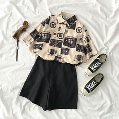 2019 new print shirt+elastic shorts suit in 2020 Teen Fashion Outfits, Retro Outfits, Cute Casual Outfits, Grunge Outfits, Vintage Outfits, Boyish Outfits, Punk Fashion, Summer Outfits, Lolita Fashion