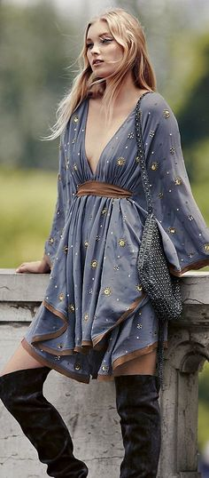 Embellished Sheer Chiffon Mini Dress Fall Inspo #Fashionistas