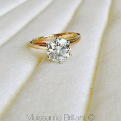 8mm Moissanite Round Two-tone 14K White Gold 6 Prongs and Yellow Gold Band Solitaire 2 Carat Ring by Charles & Colvard