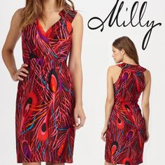 """CYBER MONDAY PRICE *Milly* Silk Cocktail Dress! Excellent Used Condition - only worn once! Fits TTS. There is a small 1/4"""" tear in the lining(dress is fully lined with a 2nd silk layer, almost like a slip!) near front of the wrap skirt - this is NOT visible when worn, but wanted to mention small rip for full disclosure! Absolutely no other imperfections! Amazing quality, originally purchased from Saks for $350, worn to a wedding. Such a flattering, unique, chic dress for holiday cocktail…"""