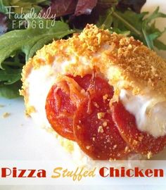 fabulesslyfrugal.... Two favorites combined...chicken and pizza. Super easy Pizza Stuffed Chicken recipe.