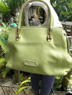Italian Valentina Apple Green Leather Handbag, Purse, Carry All, Tote, Summer, Cruise, Resort