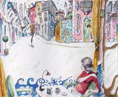 """""""News & secrets"""" 2014 Watercolor, pastel, chacroal & Ink on paper Canson 140 lbs 13.7 x 10.6 inches Carlos Pardo """"Noticias y secretos"""" 2014 Acuarela, pastel,carboncillo y tinta S/ papel 35x27 cms 130€ 0529 www.artcarlospardo.com"""