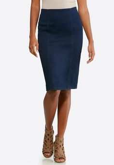 6b360dfaa44 Cato Fashions Plus Extended PullOn Denim Pencil Skirt  CatoFashions Cato  Fashion Plus Size