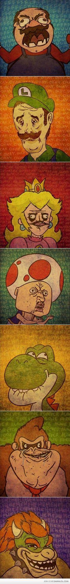 Nintendo Rage Faces Memes | Mario, Luigi, Peach, Toad, Yoshi, DonkeyKong, Bowser