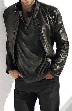 Black leather...always a sexy staple for men.
