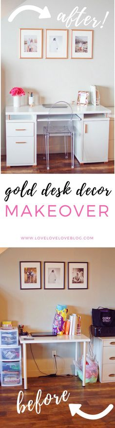 The post is an awesome desk decor DIY! The before and after of this desk organization and desk ideas will blow you away! Diy Décoration, Easy Diy, Tips & Tricks, Diy Desk, Home Interior, Interior Styling, Home Decor Inspiration, Workspace Inspiration, Decoration