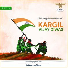 Held your head high, Wave the tri-colour in the sky. Boost your pride as they triumph over the terror, Salute the martyrs who roared as saviours.   On the occasion of Kargil Vijay Diwas, let's remember those heroes who protected us all throughout the day & night. #KargilVijayDiwas #KargilWar #IndianArmy #RPMGDigitech