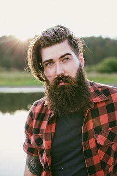 Lane Toran - full thick dark beard and big mustache beards bearded man men mens' style street fall winter clothes fashion lumberjack plaid bearding bushy handsome tattoos tattooed #thoseeyes #beardsforever