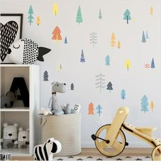 Kids Room Wall Decor Awesome nordic Style forest Tree Color Wall Decals Woodland Tree Vinyl Art Wall Stickers for Kids Room Decoration Modern Decor Nursery Wall Stickers, Kids Wall Decals, Wall Stickers Murals, Vinyl Wall Decals, Vinyl Art, Nursery Art, Animal Wall Decals, Childrens Wall Stickers, Kids Room Wall Art