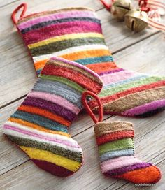 $110.00 Roost Jubliee Felt Stockings Colorful strips of wool felt are sewn together in an irregular-sized stripe pattern to create charming stockings and ornaments. Each stocking features dark fuchsia whip-stitched side details with a solid red felt back and hanging loop. Felt Christmas Stockings, Felt Stocking, Stocking Ideas, Handmade Ornaments, Felt Ornaments, Modern Christmas, Christmas Crafts, Christmas Ideas, Homemade Christmas