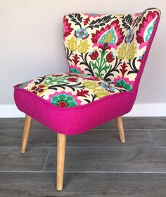 Looking for a gift? Start here 👉  50's Cocktail Chair in Santa Maria Desert Flower Fabric accented with Hot Pink Harris Tweed https://www.etsy.com/listing/530026031/50s-cocktail-chair-in-santa-maria-desert?utm_campaign=crowdfire&utm_content=crowdfire&utm_medium=social&utm_source=pinterest