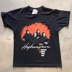 """1990 Highwaymen t-shirt, size M measures 20"""" pit to pit and 25"""" collar to hem, $75+$8 domestic shipping. Call 415-796-2398 to purchase or PayPal afterlifeboutique@gmail.com and reference item in post."""