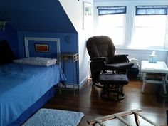 Another view of the Blue Room, with its southern windows. Blue Rooms, B & B, Bean Bag Chair, Southern, Heaven, Windows, Furniture, Home Decor, Blue Bedrooms