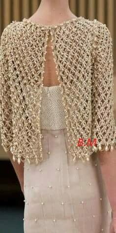 Crochet bolero decorated with pearls, for a special occasion. Done in salomon, this crochet work is beautiful and chic. Learn how to take stock of this bolero through the images and ca punct este țesută salomon Elegant crochet bolero decorated with bead Pull Crochet, Gilet Crochet, Mode Crochet, Crochet Jacket, Crochet Blouse, Crochet Shawl, Crochet Stitches, Knit Crochet, Learn Crochet