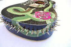 Mosaic guitar Leather and Spikes and by BellasArtMosaics on Etsy