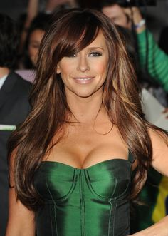 Dark hair with gorgeous brown/ caramel highlights and swooping bangs. (idea for when I finally dye my hair!)