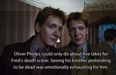 (tags: Harry Potter, Deathly Hallows, Fred, George, Oliver Phelps, death scene) Aww...